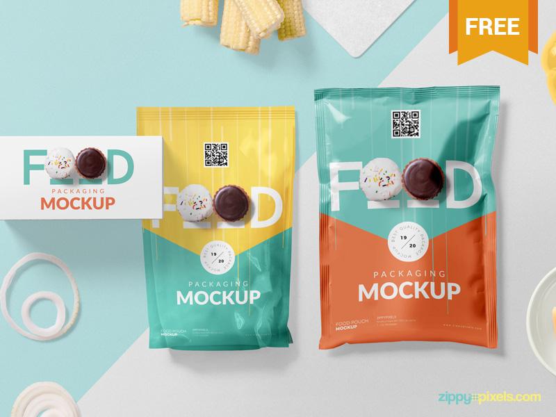 Free Food Packaging Mockup PSD presentation branding food pouch sachet packaging photoshop psd mockup freebie free