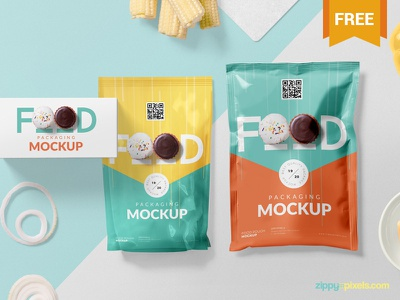 Free Food Packaging Mockup PSD presentation branding food pouch sachet packaging photoshop psd mockup freebie free
