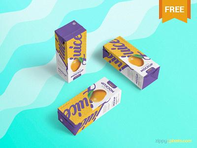 Free Juice Box Mockup branding presentation nector packaging box juice photoshop psd mockup freebie free
