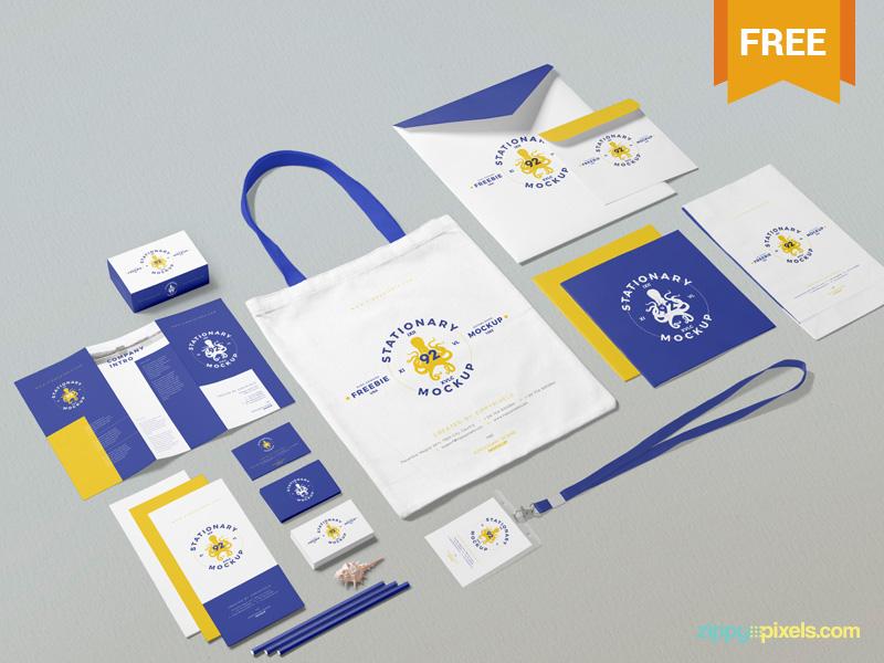 Free Business Stationery Mockup Scene presentation identity branding packaging stationery photoshop psd mockup freebie free
