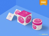 Free Beautiful Cosmetic Cream Mockup branding jar pot cosmetic cream packaging photoshop psd mockup freebie free