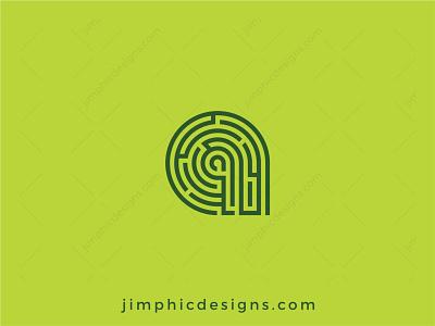 Letter A Maze Logo graphic design branding logo