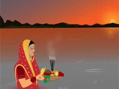 offer fruits and thekuah to Lord surya deva chhathmata