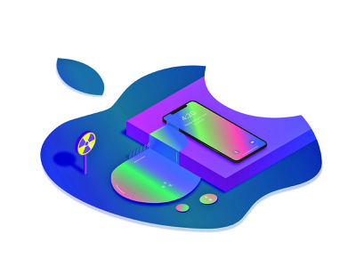 Warning gradient flat  design isometric illustration isometria isometric design phone toxic apple