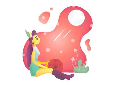 Shaman graphic design design gradient moons mushroom flat illustration illusration shaman
