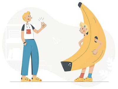 Marketing team team people boy banana office marketing start up company business flat  design flat illustration flat