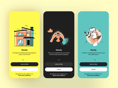 Homly onboarding screesns illustration minimal app design ui