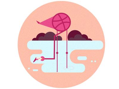 Dribble Flamingo flat flamingo invite dribbble textures shapes design vector art digital drawing abstract illustration abstract art graphic  design vector illustration vector illustration