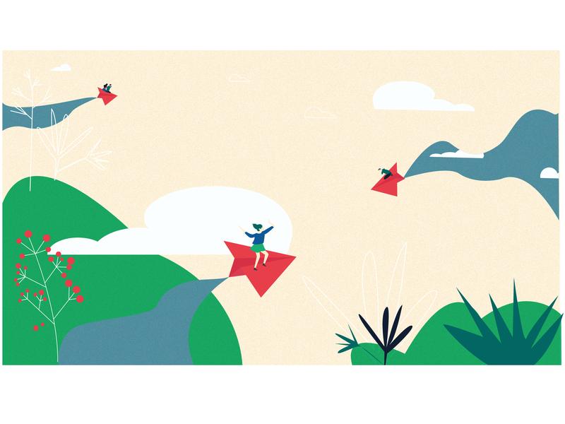Flying Dreams part 3 paper plane texture girl illustration design female art character illustration vector art digital drawing abstract illustration abstract art graphic  design vector illustration vector illustration