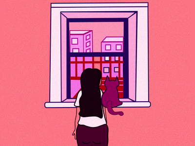 The Fire Escape window cat girl digital illustration vector artwork illustration graphic art design graphics illustrator digital design