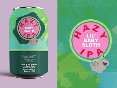Hazy Little Sloth IPA packagedesign mockup package design ipa sloth beer can beer art beer label beer logo branding graphics business digital design