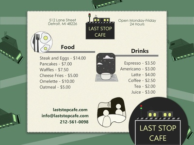 Menu Design - Last Stop Cafe