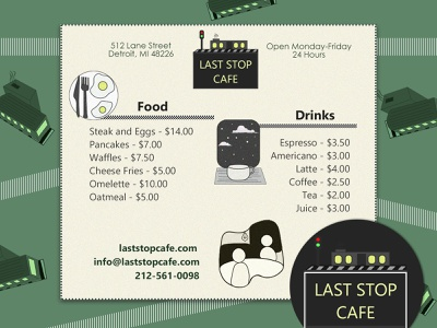 Menu Design - Last Stop Cafe foodesign food marketing branddesign vectorlogo logo branding illustrator cc takeaway menu menu card inspiration iconography illustrator digitaldesign menu menudesign