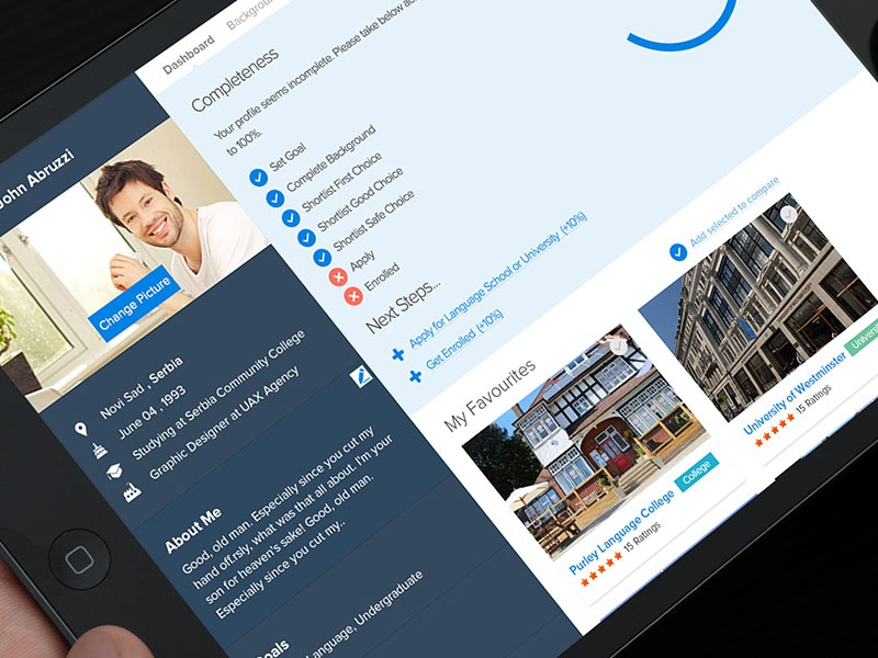 GoEnrol Profile goenrol profile dashboard clean steps web app ui ux
