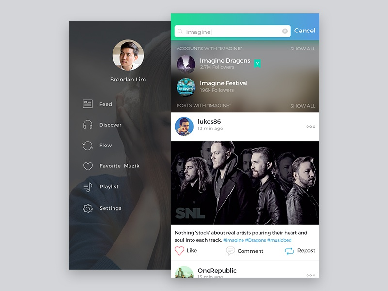 Sidebar and Search Screens menu player uidaily feed music ui search sidebar