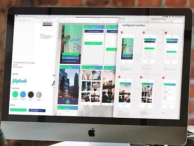 Flipbook App Screens and Userflow userflow color guide style gradient book flipbook iphone ui app