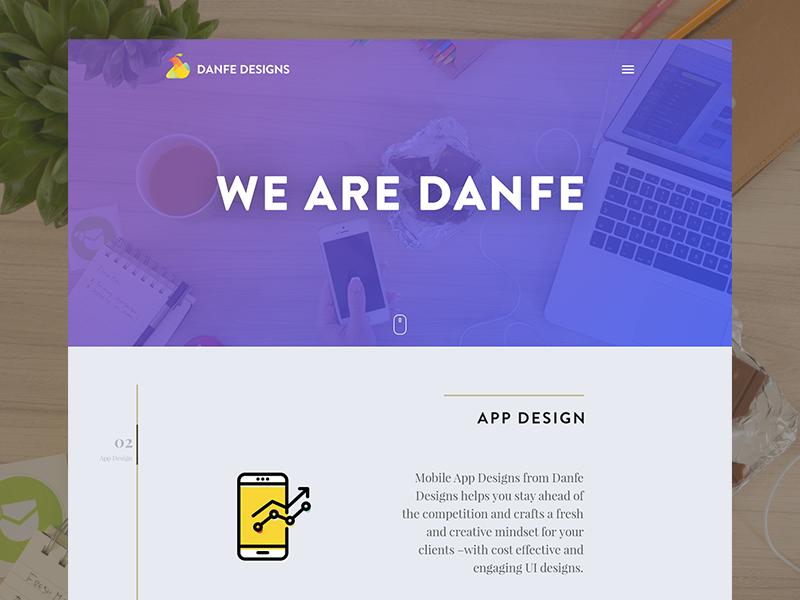 Danfe Designs Website Explorations ui homepage website web designs danfe ideas explore concept
