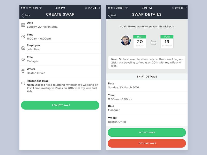 Employee Shift Swap Screens ui create request swap employee office human resources app hr