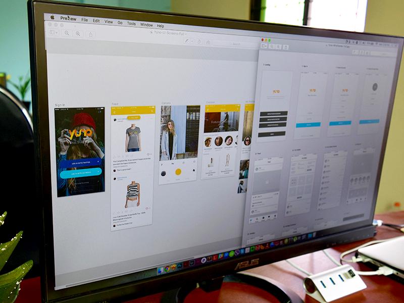 Yuno App Screens camera sketch app mobile login ux ui wireframe