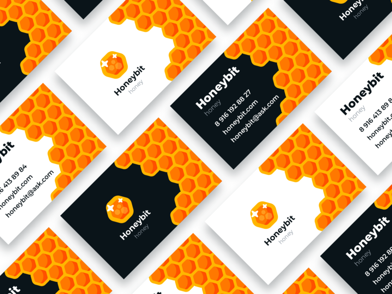 Honeybit business cards colorful graphic design minimal honeybit honeycomb honey business card design business card логотип лого branding typography logo creative blackorbitart vector graphics