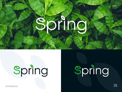 Spring logo icon spring logo spring minimal modern logo antipslava graphic design visual identity brand identity creative branding typographic logo typography logo