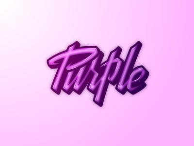 Purple lettering