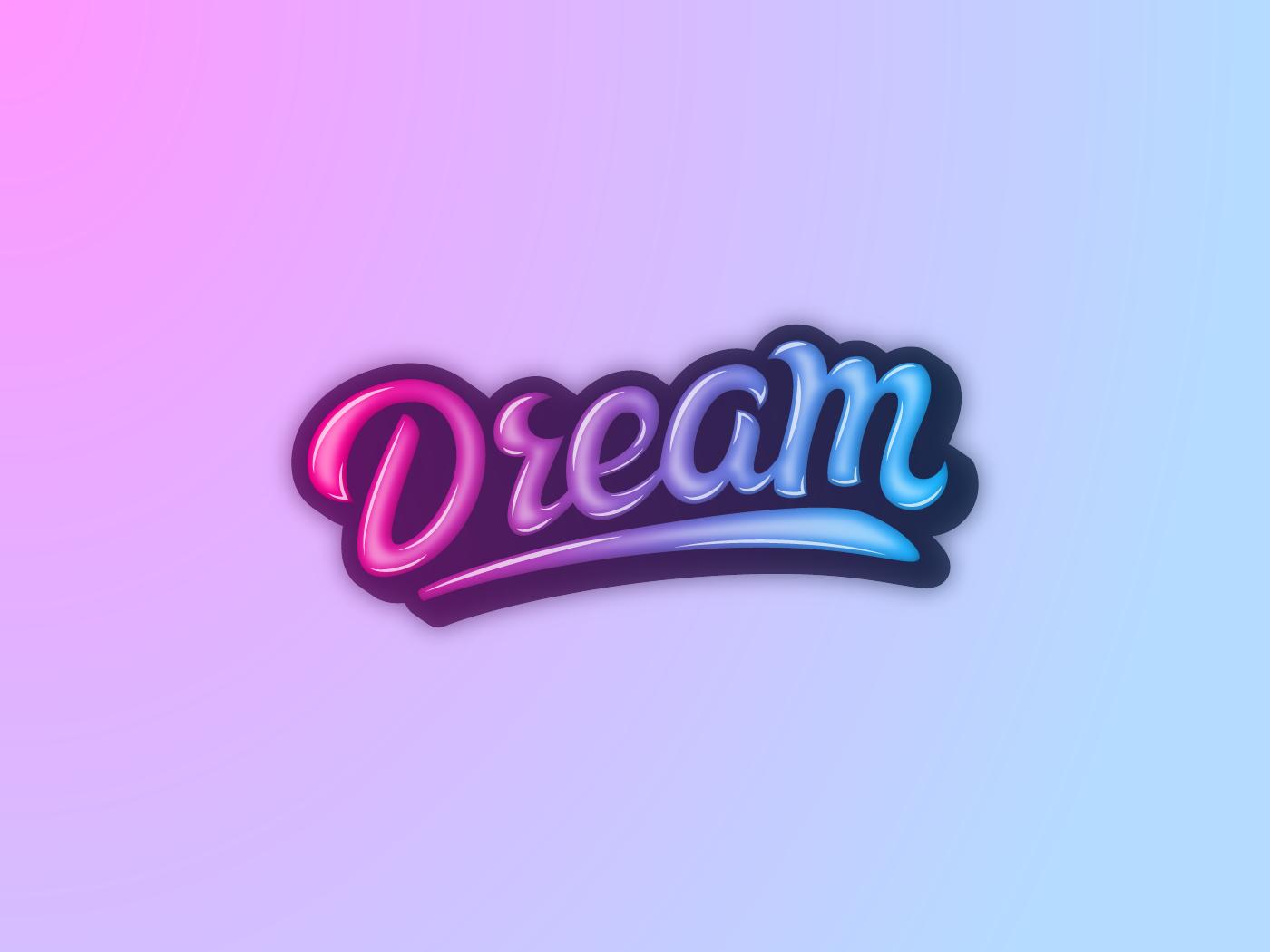 Dream lettering handlettering blue purple lettering colorful typography creative logo blackorbitart minimalism vector graphics graphics design