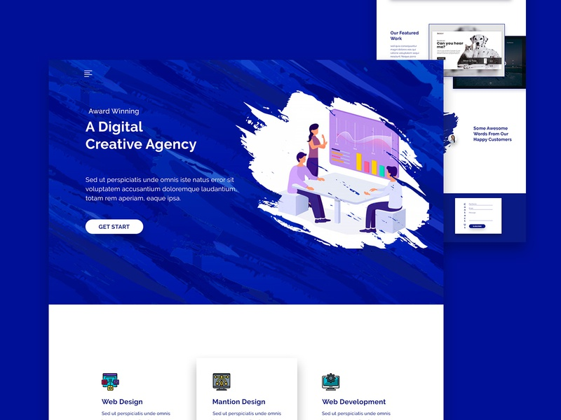 Creative Agency Landing Page web ui trend stratup web desing psd template minimal landing page illustration exploration design business  creative business blue agency