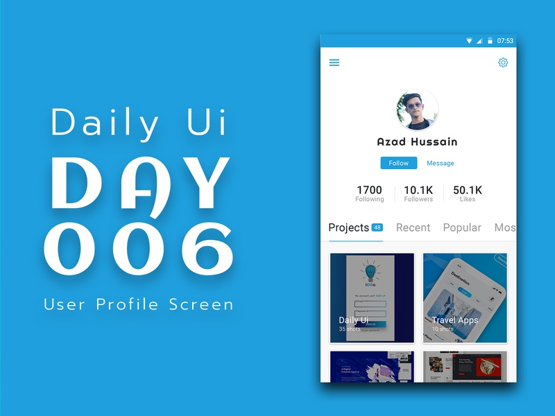 Daily Ui Challenge 006 - User Profile daily ui dailyui006 mobile application design app design android app app designer dailyui design clean user interface