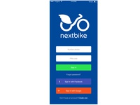 Nextbike Sign In form