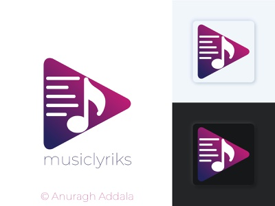 Identity for Music Lyrics Application vector app ui icon logo branding illustrator illustration flat design