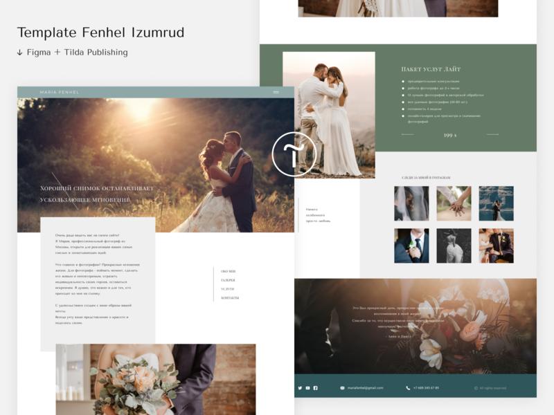 Template Fenhel Izumrud web website design website photo photographer photography logo consept ui clean typography minimal blog design blog