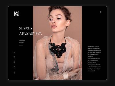 Concept for jewerly designer dark white black influencer photoshop figma portfolio designer portfolio designer jewerly typography elegant consept website web ux ui minimal design clean