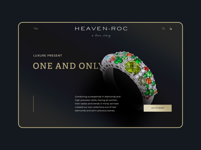 Webdesign for jewerly dark web website golg elegant typography clean design minimal ring rings jewerly