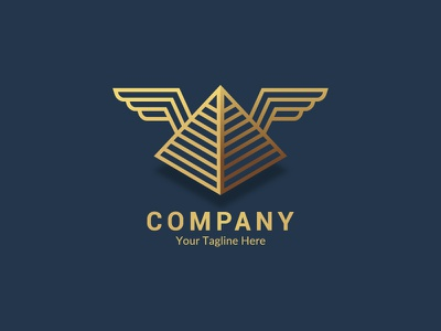 Winged Pyramid gold fly wings egyptian egypt pyramid design vector branding logo