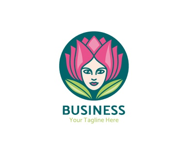 Lady Lotus pink lady girl face woman lotus flower green leaf vector design logo