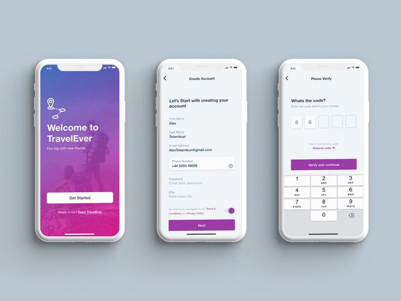 Create Account TravelEver App mobile design ux app ui