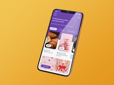 Mobile version - Professional pastry courses online web ui ux mobile design app