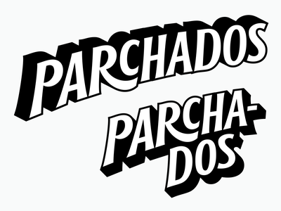 Parchados brand typography branding pin patches lettering logotype
