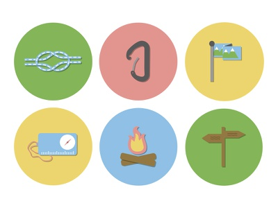 Hiking Icons lifestyle outdoors navigation compass rope karabiner campfire signpost color hiking icon