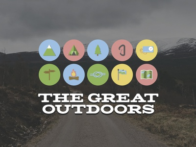 Hiking Icons signpost rope outdoors navigation lifestyle karabiner icon hiking compass colour campfire