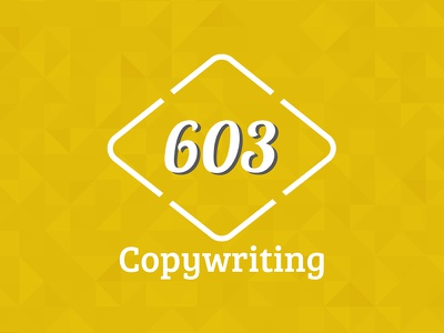 603 Copywriting Logo digital creative color colour pattern gold numbers 603 logo copywriting manchester