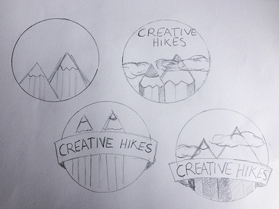 Creative Hikes Logo Sketch pencils clouds hikes mountains identity outdoors hiking creative logo sketch
