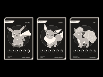 pokemon cards 2 (Pikachu, Eevee, Vulpix)