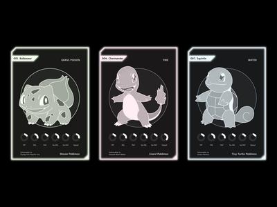 pokemon cards 3 (Bulbasaur Charmander Squirtle)