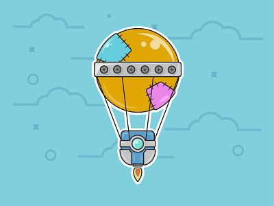 Hot Air Ballon hot air ballon robot flat design outline cartoon graphic art vector digital art design illustration