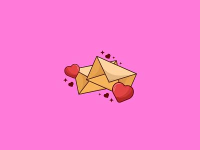 Love Mail valentine mail love banner outline cartoon graphic art vector digital art design illustration illustrator