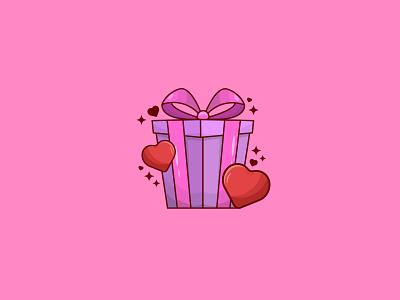 Love Gift lovely valentine gift love outline cartoon graphic art vector digital art design illustration