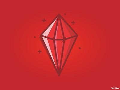 Red Gem red stone jewel stone gem outline graphic design art vector illustration digital art