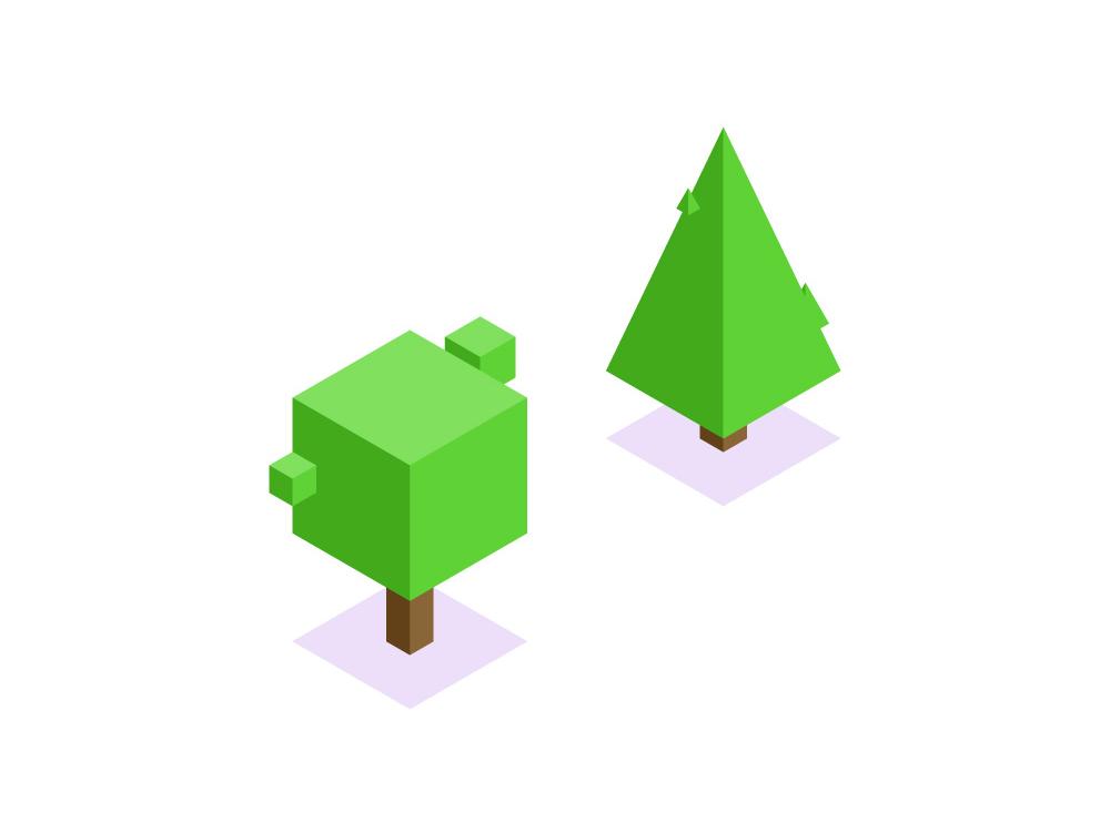 Isometric Trees affinity designer vector art vector illustration nature illustration illustration vector nature trees tree isometric